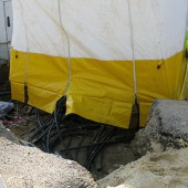 Work tent at cable layings