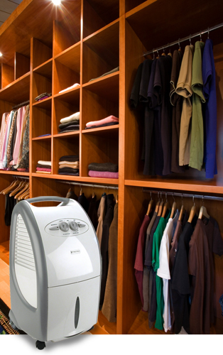 A dehumidifier of the TTK S series in a wardrobe