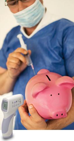 male nurse giving a piggy-bank a flu shot