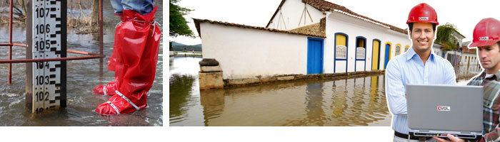 a flooded street and water damage restoration experts