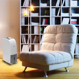 Dehumidifier next to easy chair in front of bookcase in elegant room