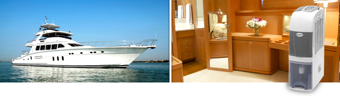 a luxury yacht and a dehumidifier