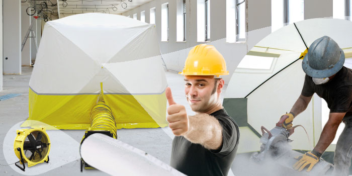 indoor work tent with connected hose and workman doing a thumbs up