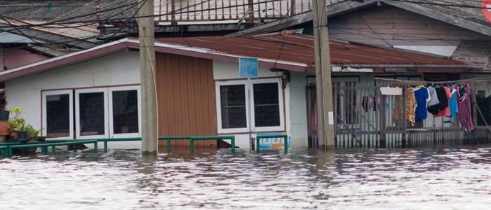 Flooded street in bangkok, thailand
