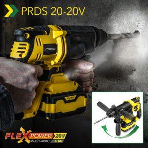 Vuelve a estar disponible el martillo perforador de batería PRDS 20 20V: para taladrar, atornillar y perforar con ajuste continuo y sin cable, gracias a la batería multiusos FlexPower 20 V 4,0 Ah.