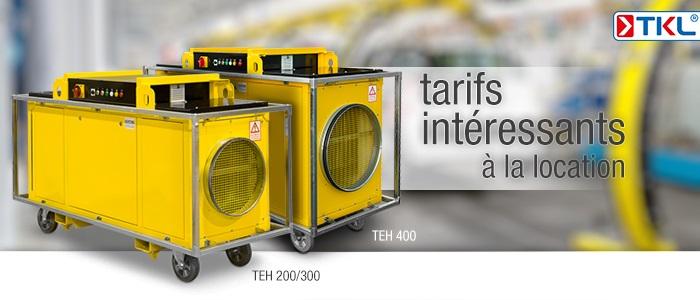 Chauffages électriques haute puissance à la location chez TKL