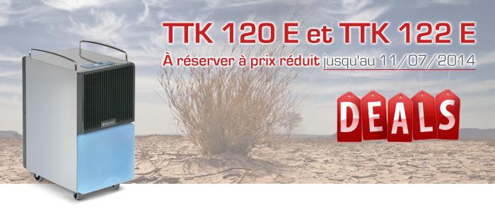 Promotions | Déshumidificateurs professionnels TTK 120 E et TTK 122 E à réserver dès à présent