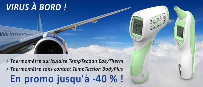 thermomètre auriculaire et thermomètre infrarouge sans contact