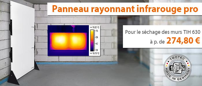 panneau rayonnant infrarouge de chantier Trotec pour le séchage des murs