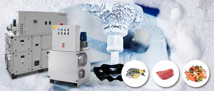 Déshumidificateurs basses températures Trotec pour logistique et entrepôts frigorifiques