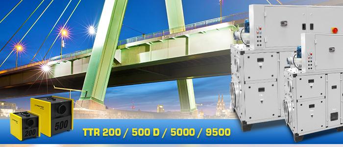 déshumidificateurs Trotec série TTR pour la déshumidification des ponts