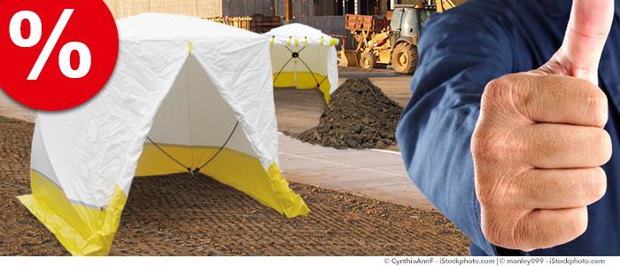 tentes de chantier, modèles d'exposition