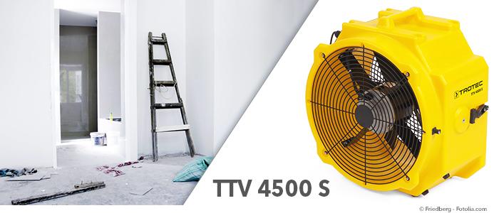 ventilateur professionnel TTV 4500 S pour bâtiment, sauvetage après sinistre et entreprises de nettoyage