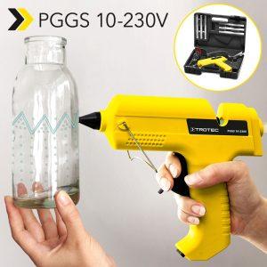 Pistolet à colle chaude PGGS 10-230V : colle grâce à un accumulateur de chaleur intégré avec ou sans câble. À nouveau disponible juste à temps pour les bricolages d'automne !