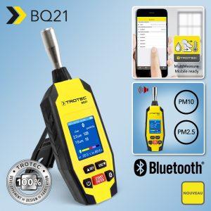 Nouveau compteur de particules BQ21 : appareil Bluetooth® de mesure des conditions environnementales avec application pour le relevé de la pollution en poussières fines par les poussières de catégorie L (PM10) et de catégorie H (PM2.5)