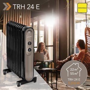 NOUVEAU Radiateur à bain d'huile TRH 24 E : un appareil de chauffage plus esthétique, plus économique et plus durable – avec une puissance de 2 200 watts, trois niveaux de chauffage et un temps de post-chauffage de 30 minutes