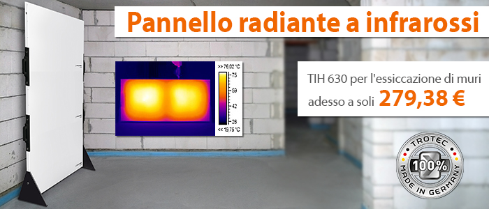 Pannello radiante a infrarossi tih 630 ora in un nuovo for Pannello radiante infrarossi amazon