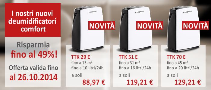Deumidificatori comfort TTK 29 E, TTK 51 E, TTK 70 E
