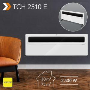 NIEUW Design-convector TCH 2510 E: ultravlak staand of wandapparaat met 2.500 watt verwarmingsvermogen en energiebesparende open-raam-detectie