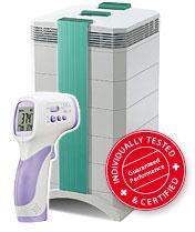 Luftreiniger Cleanroom 250MG plus Fieberthermometer Temptection BodyPlus