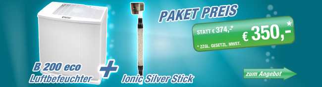 Luftbefeuchter B 200 eco + gratis Ionic Silver Stick 10