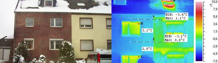 Vergleich Thermografieaufnahme und normales Foto einer Hausfassade