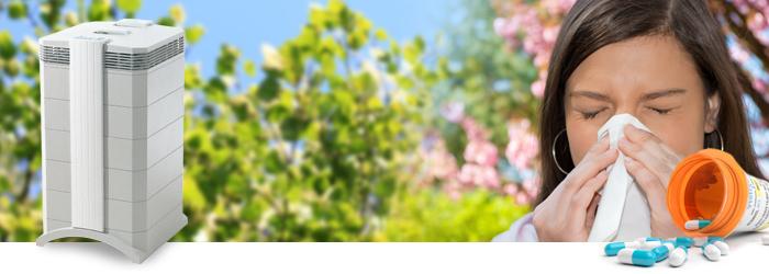 Frühlingswiese und Frau mit Heuschnupfen