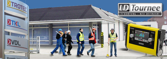 Der Korrelator LD6000 und Arbeiter, die in das Trotec Seminarzentrum strömen.