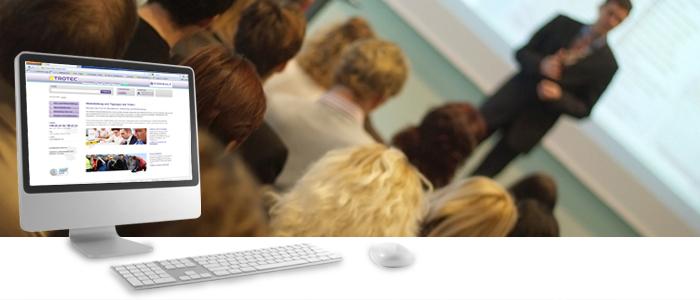 Schulungsraum und die Trotec Consult Website