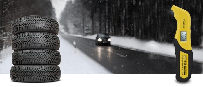 Winterreifen und Reifendruck-Messgerät