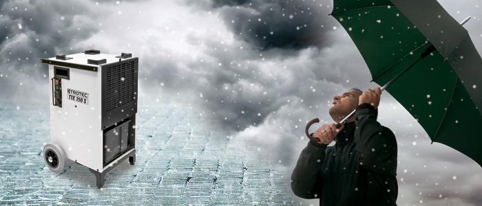 Luftentfeuchter im Regen
