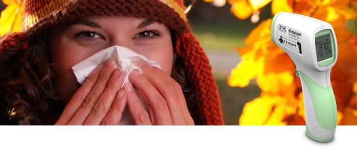 Hausmittel und moderne Fieberthermometer gegen Grippe