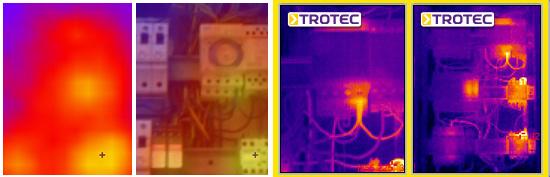 V.l.n.r.: Wettbewerbsmodell 100 % Thermografieaufnahme, Wettbewerbsmodell 50 % Thermografie- und 50 % Lichtbildaufnahme überlagert, Trotec EC020 Thermografieaufnahme, Trotec EC040 Thermografieaufnahme