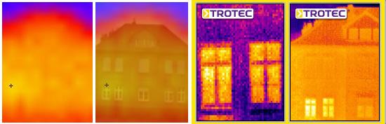 V.l.n.r.: Wettbewerbsmodell 100 % Thermografieaufnahme, Wettbewerbsmodell 50 % Thermografie- und 50 % Lichtbildaufnahme überlagert, Trotec EC020, Trotec EC040