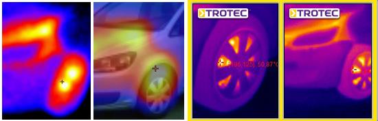 Soldan sağa: rakip model %100 termografik görüntü, rakip model üst üste bindirilmiş %50 termografik ve %50 gerçek görüntü, Trotec EC020 termografik görüntü, Trotec EC040 termografik görüntü
