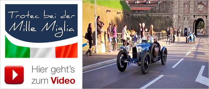 Bugatti auf der Straße. Trotec in der Garage.