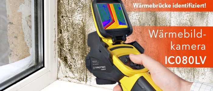 Wärmebrücke indentifiziert - Wärmebildkamera IC080LV im Trotec Shop